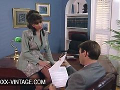 Busty Sarah Young fucked on the office table